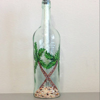 Bacardi Bottle Tiki Torch Table Top with Hand Painted Palm Trees