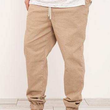 Relaxed Stretch Twill Joggers Khaki