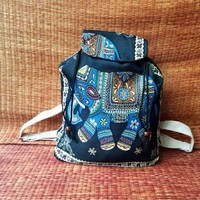 Elephant Backpack Boho Style Woven fabric Canvas Unique Cute design Overnight travel Festival School bag Hippie Student gift For Women kids