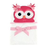 Hudson Baby Girls Animal Face Hooded Towel - Owl