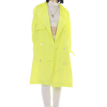 Vintage Neon Trench Coat Highlighter Yellow Nylon Raincoat Long 80s 90s Retro Winter Jacket Made in the USA Women Size Medium / Large