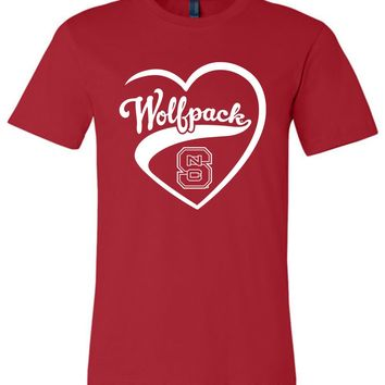 Official NCAA North Carolina State University Wolfpack NC State NCSU Heart Unisex T-Shirt - SC25nc