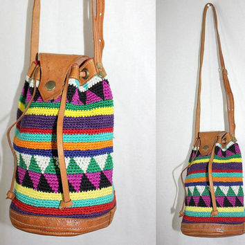 ViNtAgE 70s folk woven BUCKET BAG navajo gypsy LEATHER crossbody tote - a223