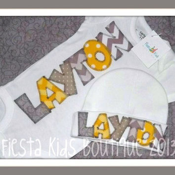 Newborn boy outfit, personalized layette, baby bodysuit with hat, take home outfit