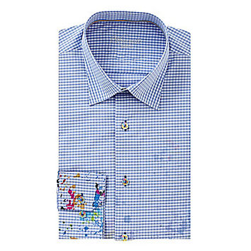 Visconti Splatter Check Long-Sleeve Woven Shirt - Blue