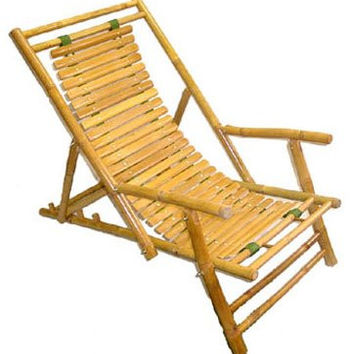 "Folding Bamboo Recliner - Set of 2 (Bamboo) (56.5""D x 24""W)"