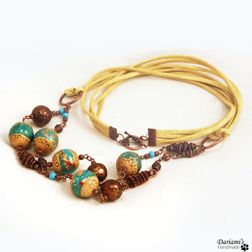 Boho necklace Beige and turquoise with copper by Dariami on Etsy
