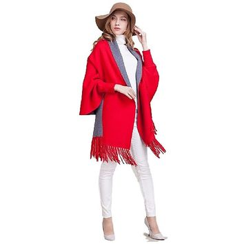 [13876] Women Fringe Bat Sleeves Knit Top Shawl Knit Sweater