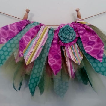 Shabby chic tutu ~ Scrap fabric tutu  ~ Fabric tutu ~ Toddler tutu ~ 18 inch waist ~ Purple tutu ~Teal tutu ~ Lime Green tutu
