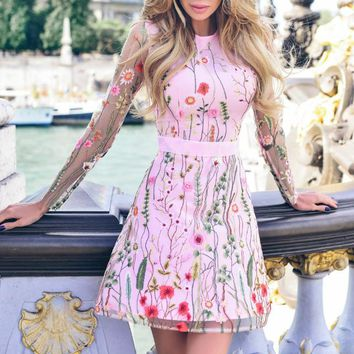 Fashion New Embroidery Floral Leaf  Long Sleeve Dress Women Pink