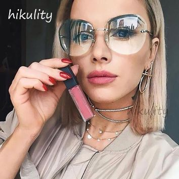 Diamond Cutting Rimless Sunglasses Women 2018 Brand Designer Ladies Shades Vintage Oversized Sun Glasses Female Lunette Femme