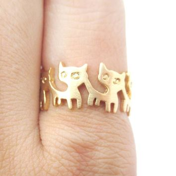 Connected Kitty Cat Parade Animal Ring in Gold | US Size 7 and 8 Only