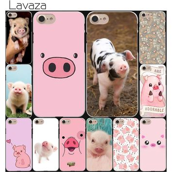 Lavaza funny cute lovely pig Hard White Coque Shell Phone Case for Apple iPhone