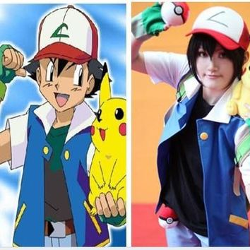 Pokemon Ash Ketchum Trainer Costume Cosplay Jacket +gloves+hat