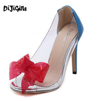 New Listing PVC Clear Transparent butterfly knot Women's Pumps Stiletto high heels pumps Sexy peep toe Banquet Shoes