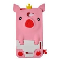 Disney Crow 3D Pig TPU Rubber Skin Case for HTC One X 4G - Pink
