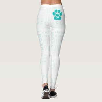 Turquoise Cat Paw with Monogram and Meow Word Art Leggings