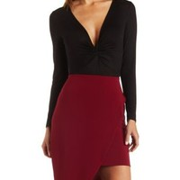 Ruched & Twisted Long Sleeve Bodysuit by Charlotte Russe