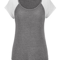 Scoop Neck Burnout Baseball Tee