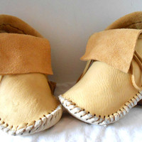 Short Moccasins, Natural Elk Hide Moccs, Made to Order, Buffalo Soles, Earthing Shoes, Hippie, Boho, Native American, Powwow, Rendezvous
