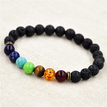 8mm Muti-color Beads Bracelets Lava 7 Chakra Healing Balance Bracelet for Men Rhinestone Reiki Prayer Stones
