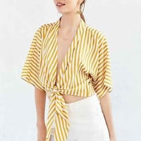 Lucca Couture In The Stripes Tie-Front Top