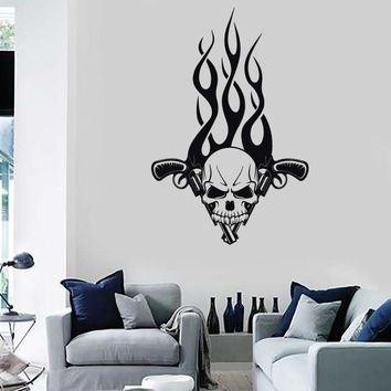 Wall Stickers Vinyl Decal Skull Gun Revolver Tattoo Fire Mafia Decor Unique Gift (ig749)