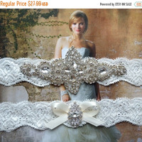 ON SALE ON Sale - Wedding Garter Set-Pearl and Rhinestone Bridal Garter Set on Ivory Lace- Garter Set with Pearls and Rhinestones