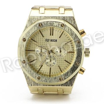 Men Iced Out Offset 14K Gold Silver PT Hip Hop Luxury Octagon Round Watch F15GS