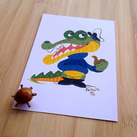 Crocodile Captain postcard, Gouache animal illustration,  Cartoon snail mail