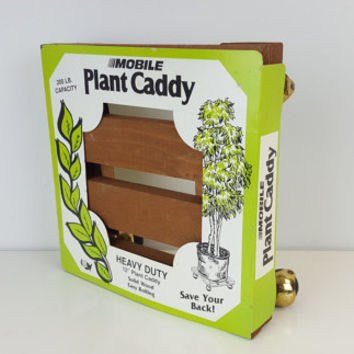 Vintage Wood Rolling Plant Caddy Mobile Plant Stand Wooden New in Box New Old Stock NOS Indoor Garden Heavy Duty Solid Wood Brass Wheels