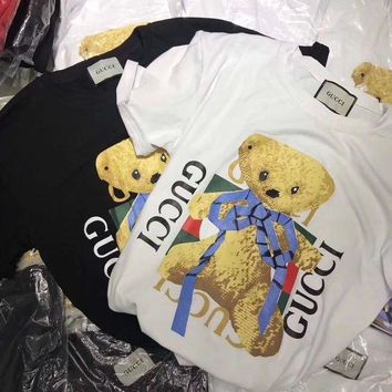DCCKVQ8 Gucci' Unisex Cute Cartoon Bear Cub Letter Pattern Print Couple Short Sleeve Casual T-shirt Top Tee