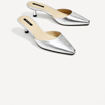 SILVER-TONED LEATHER HIGH HEEL MULES DETAILS