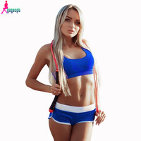 Gagaopt  Summer Sport suit Women Short 2 Piece set Jogging suits Pink Edge Short Pants and Tank Top Tracksuit S0463