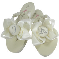 I DO Bow Flip Flops with Silver Glitter for Bridal Shoes