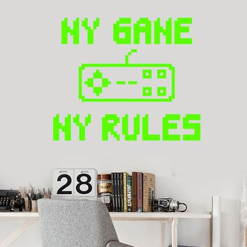 Vinyl Wall Decal Gamer Room Quote Joystick My Game My Rules Stickers (2646ig)