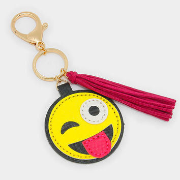Tongue Out Emoji Key Chain with Tassel Charm