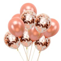 ROSE GOLD BALLOONS-Rose Gold Pink Confetti Balloons Bouquet, Girls Baby Shower Balloons, Wedding Balloons, Girls Birthday Party Balloons