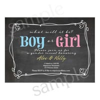 Boy Or Girl Gender Reveal Invitation / boy or girl announcement Party / Chalkboard design invitation - card 41