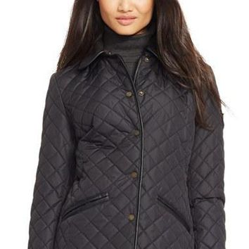 Women's Lauren Ralph Lauren Faux?Leather & Shearling?Trim Quilted Jacket,