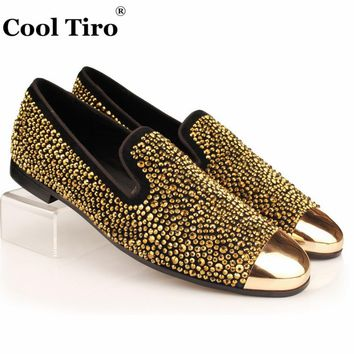 Black Suede Men Loafers Gold Crystal Strass Loafers Leather Slippers Slip-on