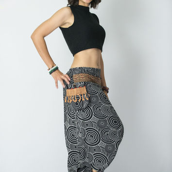 Swirls Prints Thai Hill Tribe Fabric Women Harem Pants with Ankle Straps in Black