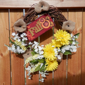 FALL FLORAL GRAPEVINE Wreath Burlap Silk Flowers Wood Sign Bells Home Decor Door Wall Decorations