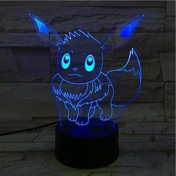 16CM Cartoon  Go Eevee 3D Lava Lamp Christmas 7 Color Changing LED Night Light Mood Decor Gift Bedroom Table LampKawaii Pokemon go  AT_89_9