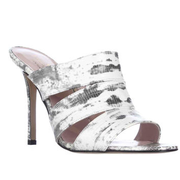 Kate Spade Fission Mule Sandals - White/Black/Tejus Lizard