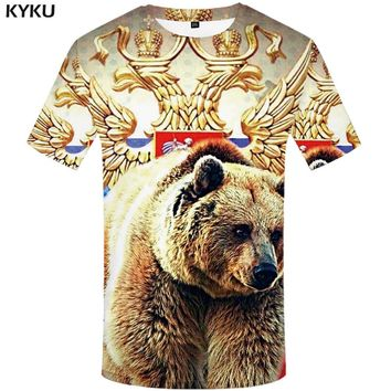 KYKU Brand Russia T Shirt Men Russian Flag T-shirt Bear Shirt 3d T-shirt Mens Clothes Fitness Tshirt Rock Hip Hop 2017 Tee Tops