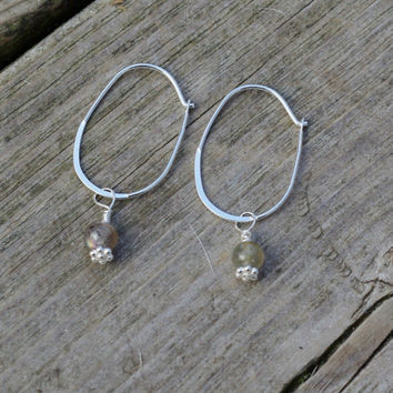 Labradorite Earrings ~ Sterling Silver Oval Hoop Earrings ~ Stone Jewellery ~ Grey Blue Stones ~ Canadian Gemstones