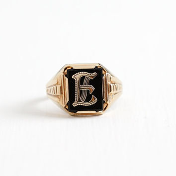 Vintage 10k Rosy Yellow Gold Black Onyx Initial Letter E Signet Ring - Art Deco 1940s Size 10 1/2 Black Onyx Men's Monogram Fine Jewelry