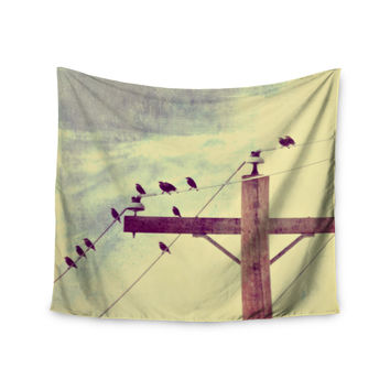 "Sylvia Coomes ""Vintage Birds On A Wire 2 "" Yellow Digital Wall Tapestry"