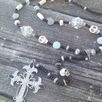 Gothic Bone Rosary, Cross Rosary Necklace, Goth Witch Black Cross Necklace,Punk Rocker Skull Jewelry, Wiccan Pagan Occult Rosary Pendulum